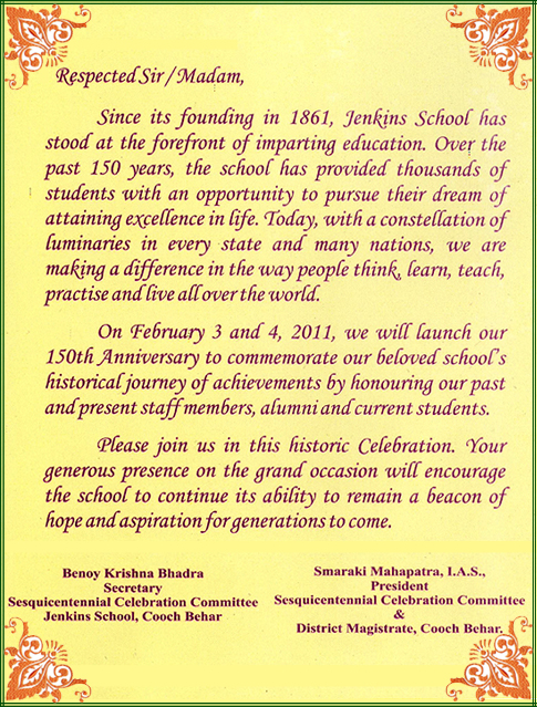 Sesquicentennial celebration of jenkins school invitation card to all stopboris Choice Image